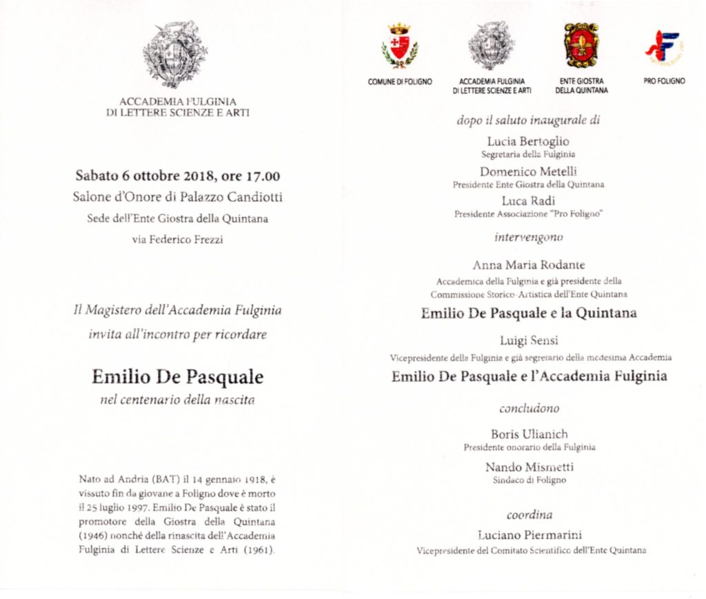 Evento De Pasquale 2018 depliant