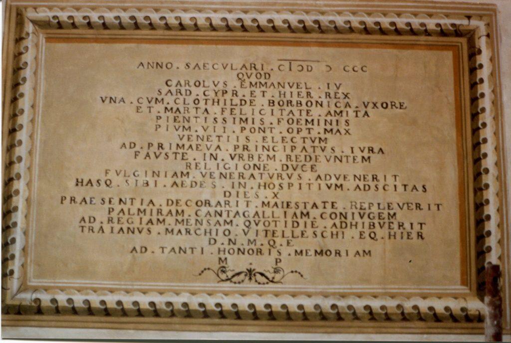 Iscrizione palazzo Vitelleschi 1800