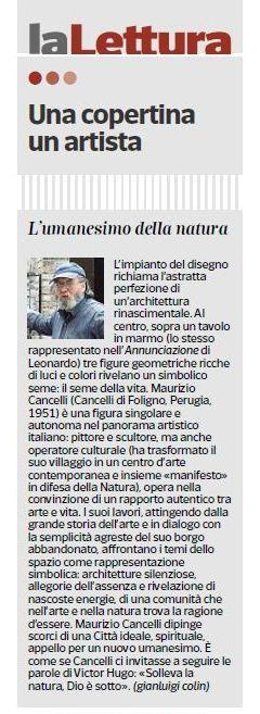 Articolo di Gianluigi Colin che descrive il quadro di Maurizio Cancelli.